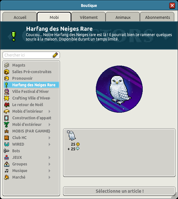 Harfang des neiges rare