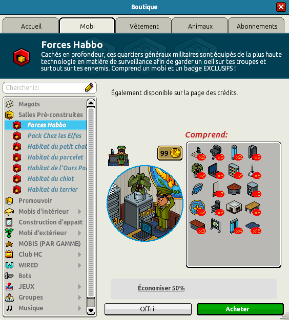 Catalogue QG Forces Habbo