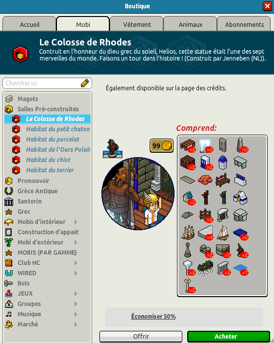 Catalogue Le Colosse de Rhodes