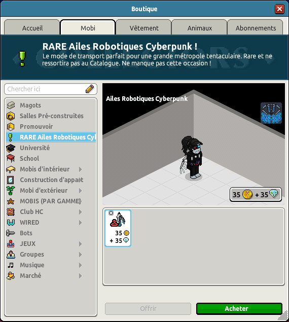 Rare Ailes Robotiques Cyberpunk