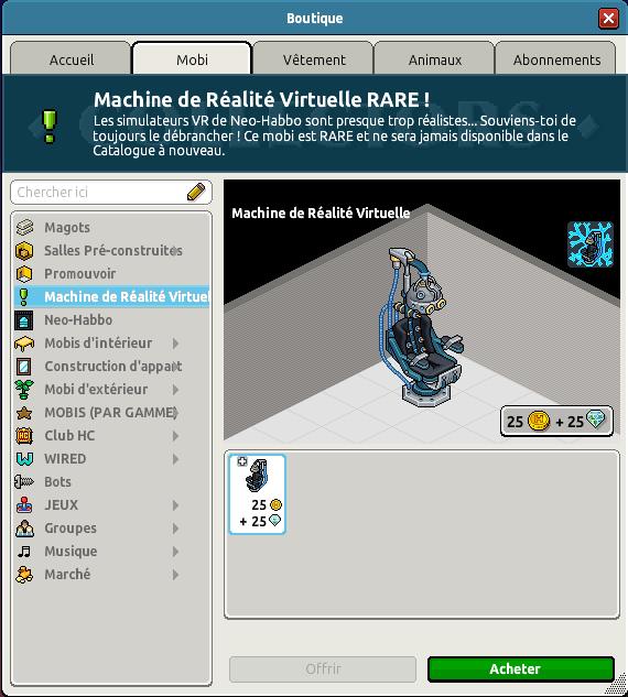 Rare Machine de Réalité Virtuelle