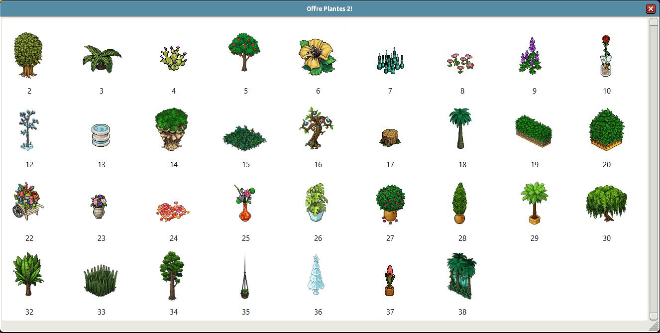 Liste des 38 plantes
