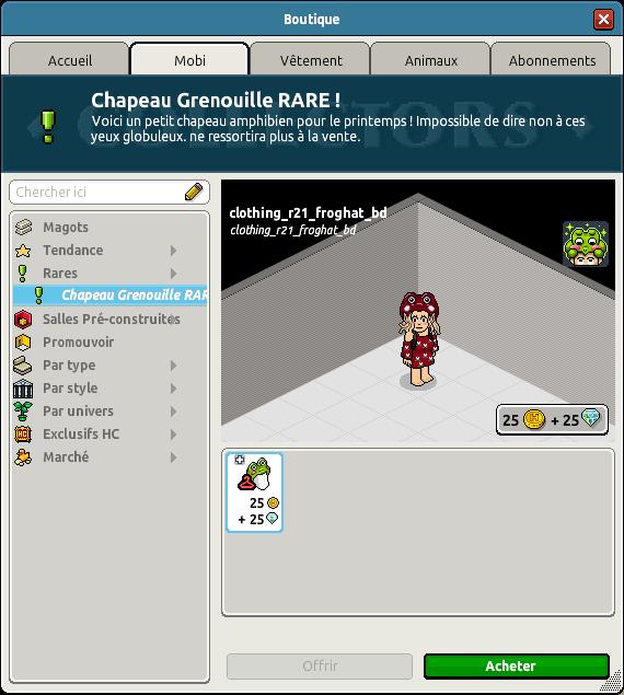 Rare Chapeau Grenouille