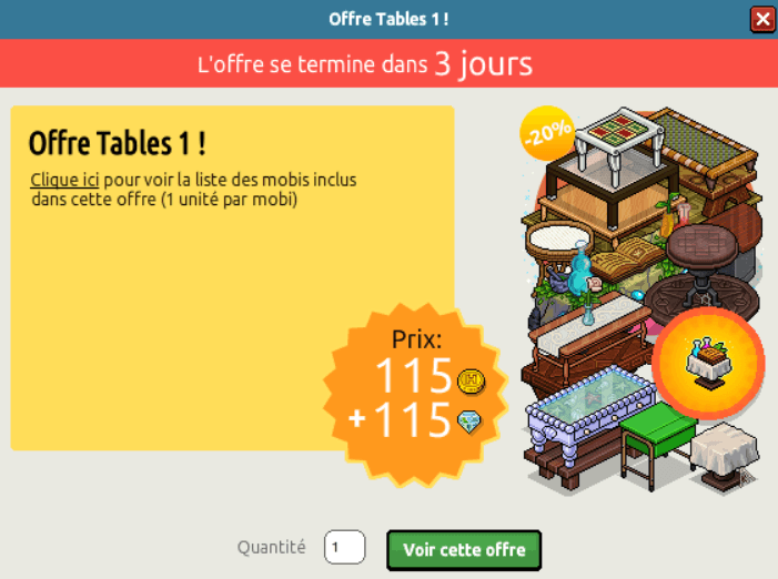 Offre Tables
