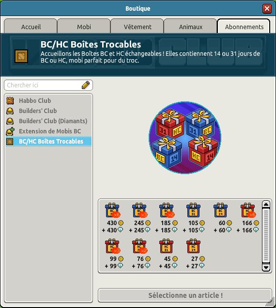 Réduction sur les boîtes HC