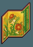 Paravent à fleurs doré